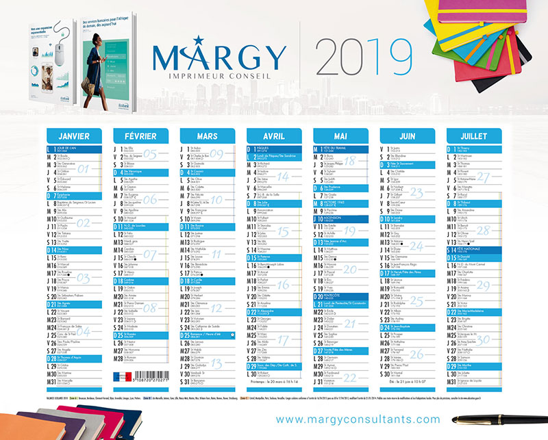 Bank Calendar - Margy Printer consultancy
