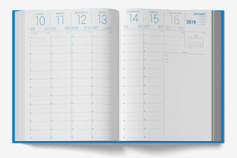 Custom grid advertising diary Margy Printer consultancy