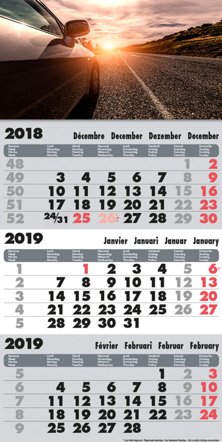 Margy Consultants - Calendrier 3 Mois Model Gris